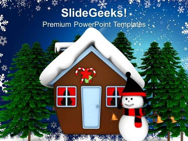 Nature Christmas Theme With Snowman Holidays Ppt Template Powerpoint