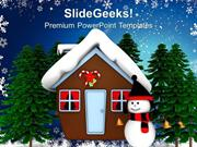 NATURE CHRISTMAS THEME WITH SNOWMAN HOLIDAYS PPT TEMPLATE