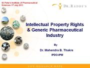 Intellectual Property Rights & Generic Pharmaceutical Industry
