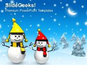 NATURE CHRISTMAS THEME WITH SNOWMAN WINTER HOLIDAYS PPT TEMPLATE