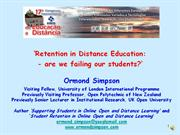 retention in distance education: are we failing our students?