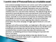 Icentric view of Personal Data as a tradable asset