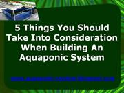 5 Things You Should Take Into Consideration When Building An Aquaponic
