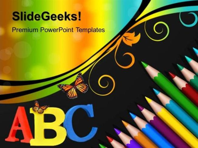 people color pencils art ppt template powerpoint template