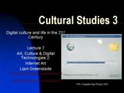 Cultural Studies 3 Lecture 7 Internet Art