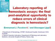 Laboratory reporting of hemostasis assays