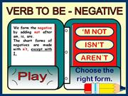 VERB TO BE (NEGATIVE) - GAME