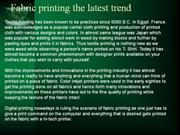 Fabric printing the latest trend