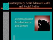 Contemporary Adult Mental Health and Social Policy