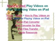 How to Play Videos on iPad