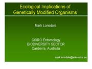 ECOLOGICAL IMPLICATIONS OF GMO's