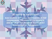IEC Group of Institutions Has Ranked 21st (all India Basis) in Top Eng