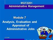 evaluation and appraisal of Admin Jobs 2