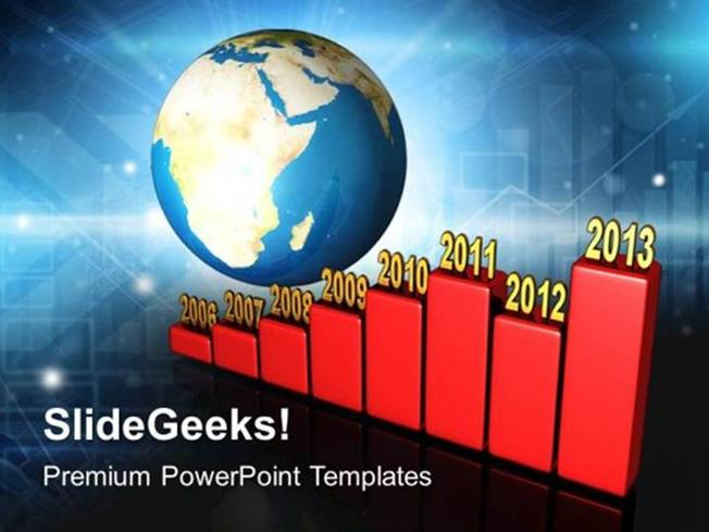 timelines bar graph yearly along earth ppt template powerpoint template