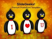 PENGUINS SHOWING I LOVE YOU VALENTINES POWERPOINT TEMPLATE