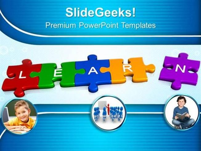 JIGSAW PUZZLES 3D JIGSAW PUZZLE PIECES WITH LEARN PPT TEMPLATE