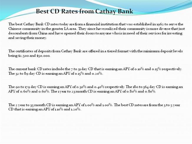 Best Cd Rates >> Best Cd Rates From Cathay Bank Authorstream