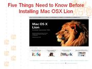 Five Things Need to Know Before Installing Mac OSX Lion