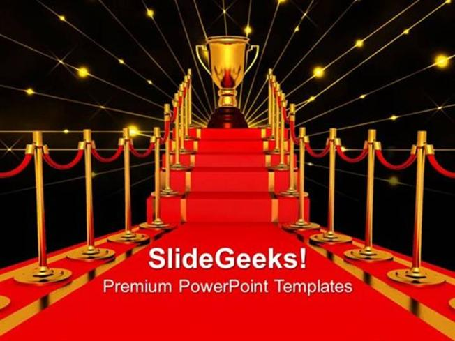 winner on a red carpet path award templates and ppt themes, Modern powerpoint