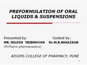 preformulation of oral liquids and suspension