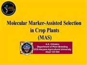 Molecular Markers in Crop Plants