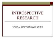 Verbal Report  methodology methods