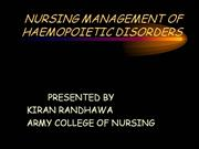 NURSING MANAGEMENT OF HAEMOPOIETIC DISORDERS