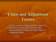 claim and adjustment letters