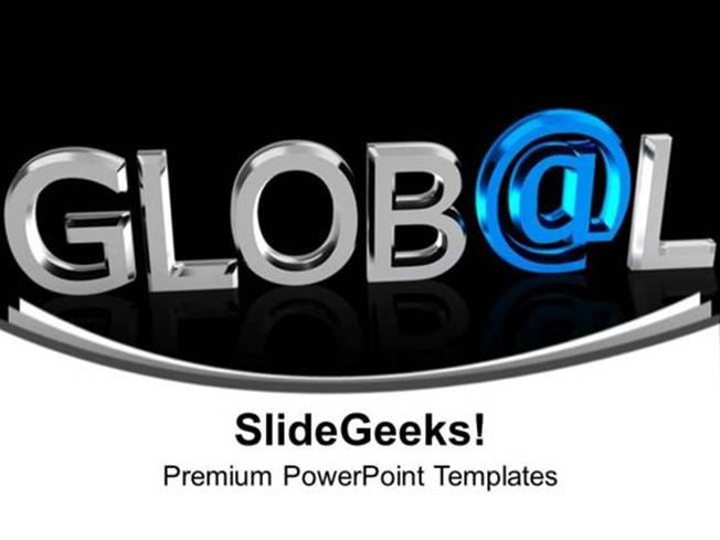 chrome letters spelling the word global ppt template powerpoint template