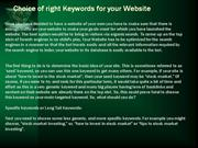 Choice of right Keywords for your Website