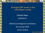 Emerging IPR issues 29 jan 05