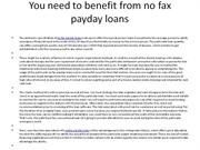 You need to benefit from no fax payday loans