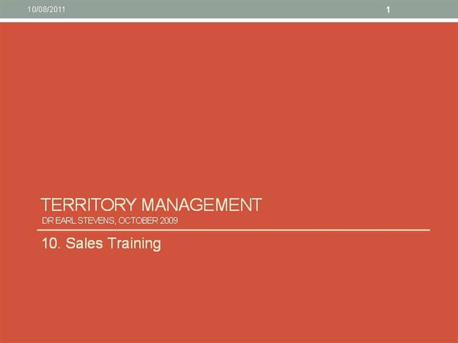 Sales Training   Territory Management |authorSTREAM