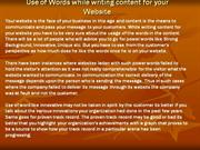 Use of Words while writing content for your Website