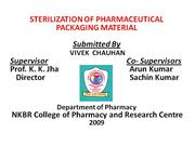 sterilization of pharmaceutical packaging
