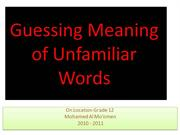 Guessing Meaning of Unfamiliar Words