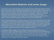 Alternative Medicine and Janine Zargar