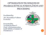 optimization techniques in pharmaceutical processing