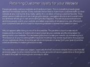 Retaining Customer loyalty for your Website