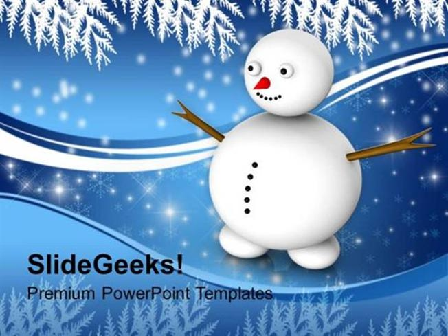 Christian Snowman With Winter Scene Events Ppt Template-Powerpoint