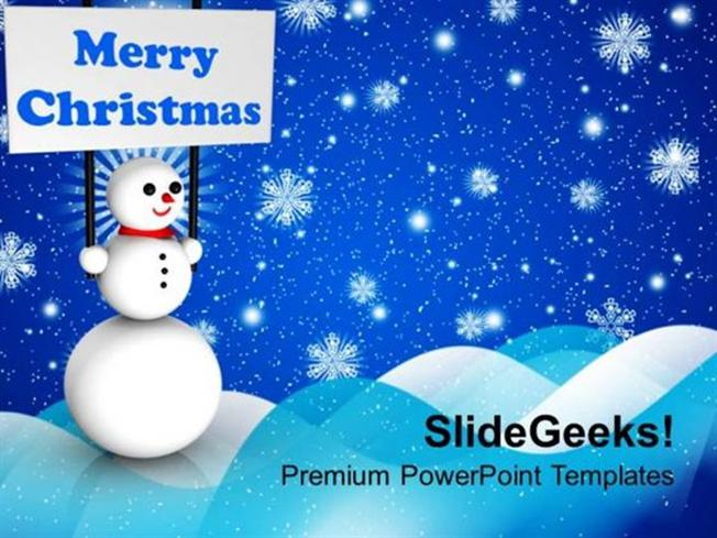 Christian Snowman Holding Banner On Christmas Background Ppt