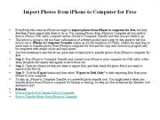 Import Photos from iPhone to Computer for Free