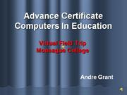 Advance Certificate Computers In Education