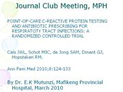 Journal club MPH March 2010