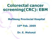 EBM colorectal cancer sreening
