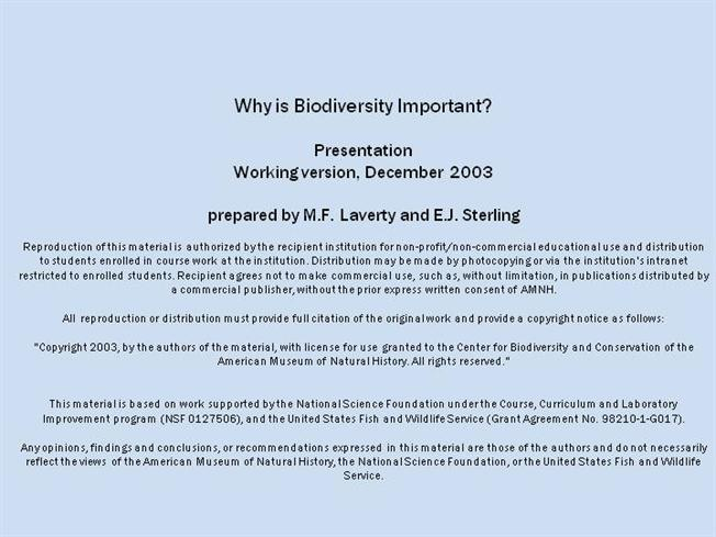 Notice Of Copyright Importance | Why Is Biodiversity Important 1 Authorstream