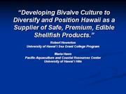 Establishing Bivalve Culture in Hawaii: Final Report