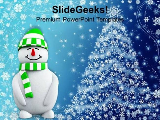 Christian Snowman With Christmas Background Ppt Template Powerpoint