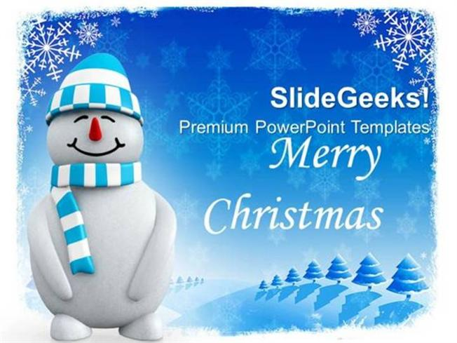 Christian Smiling Snowman On Snowflakes Background Ppt Template 1