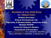 sex ratio and 2child norm by vibhuti patel